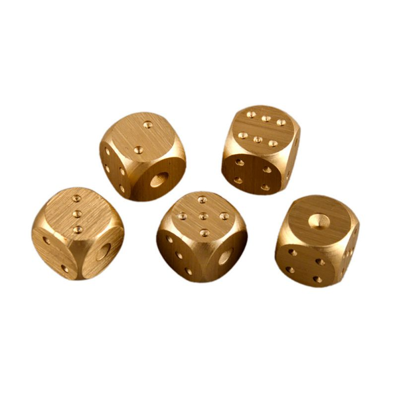 New Fashion 5 Pcs Aluminium Alloy Poker Solid Dominoes Metal Dice Game Portable Dice Poker Party Silver/Golden Hot