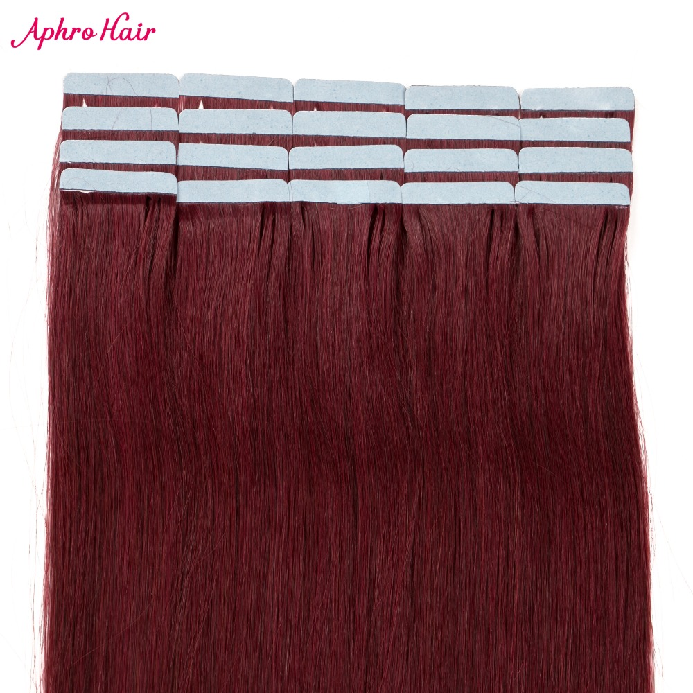 Aphro Hair Tape in Human Hair Extension Non Remy Skin Weft Tape Hair Extensions 20pcs lot