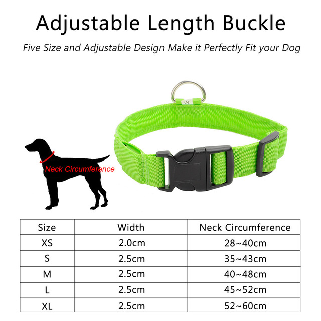 USB Charging LED Dog Collar Anti-Lost Nylon Light Collar For Dogs Puppy at Night Cool Pug Dog Supplies Pet Products Accessories 5