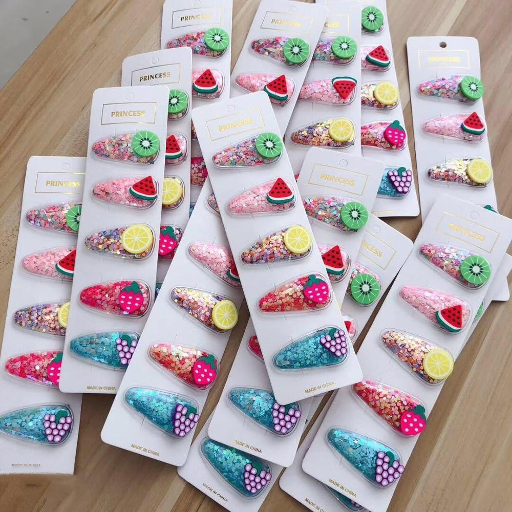 5Pcs/Set New Fruit Transparent Baby Hair Clips Sequin Hearts Hair Accessories Boutique Strawberry Colorful Children Barrettes