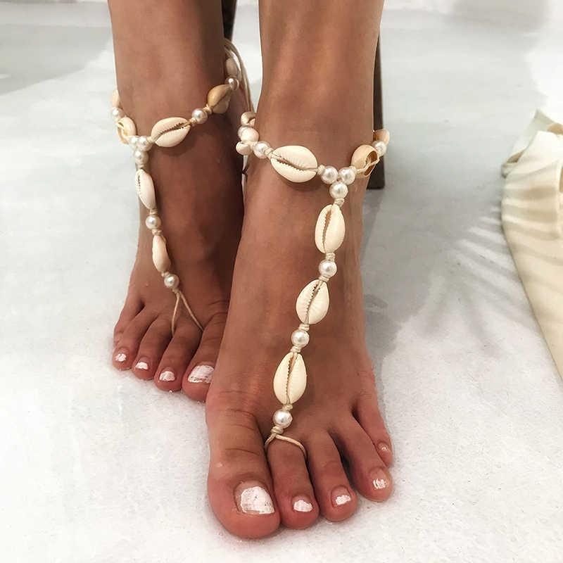 1 PC nowy gorący Pearl Shell boso sandały łańcuszek na kostkę moda lato łańcuszek na kostkę Toe plaża kostki Party prezent