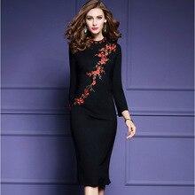 2017 Womens Embroidery Dress Elegant O-neck Long Sleeve Black Bodycon Evening Party Dress Plus Size S-3XL Vestidos Z823