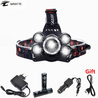 New Head Lamp 15000Lm XML T6 4R5 LED Headlamp Rechargeable Head Flashlight Lamp 18650 Battery Camping