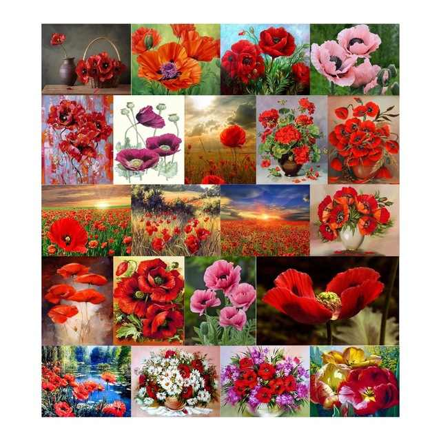 Needlework Diy Diamond Painting Poppy Flower Cross Stitch Embroidery Square Illustration Full Rhinestone Mosaic