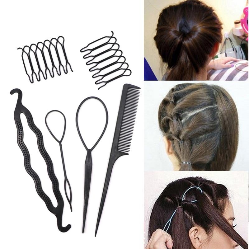 6PCS Black Hair Accessories Braiding Tools Girls Invisible Hairpins Comb DIY Bun Maker Hairdress Hair Accessories Styling Tools