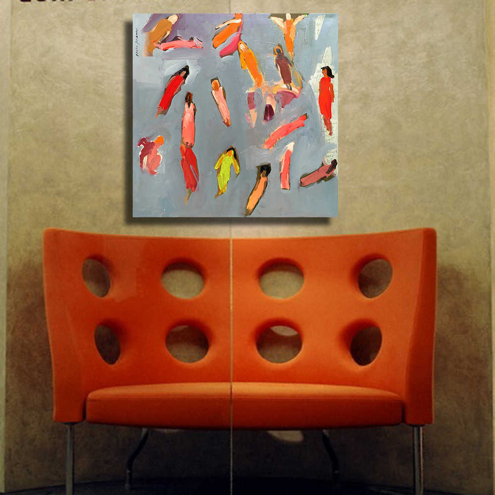 Qkart抽象人民肖像油絵ホームデコレーションウォールの写真ポスターとプリント壁の装飾