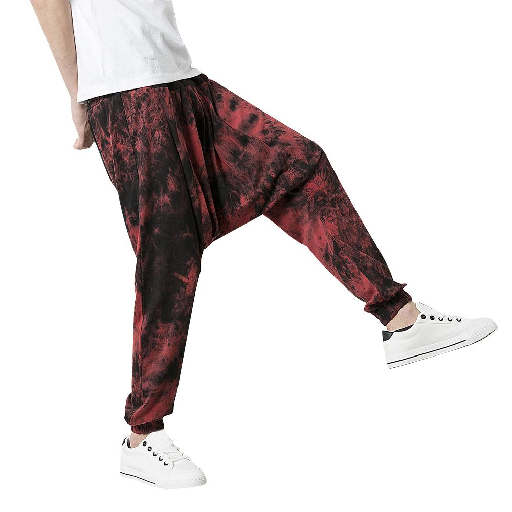 Men Splash Print Casual Jogging Harem Pants Sweatpants Running Trousers