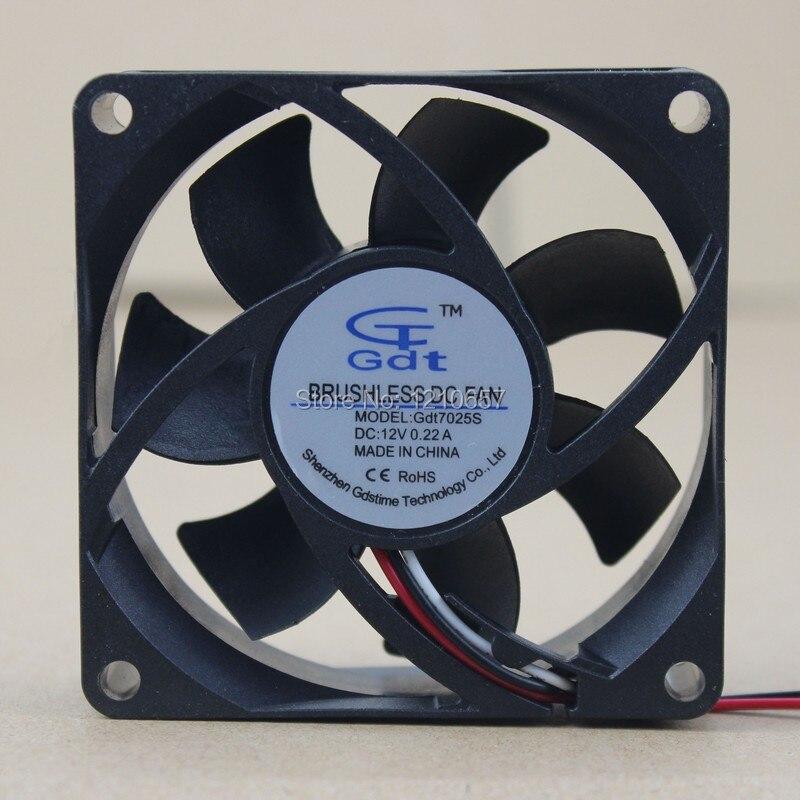 1PCS Gdstime 3Pin 70MM 70 x 70 x 25mm 7CM 12V DC Brushless Computer Cooling Fan gdstime 10 pcs dc 12v 14025 pc case cooling fan 140mm x 25mm 14cm 2 wire 2pin connector computer 140x140x25mm