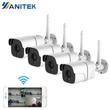 نظام كاميرا أمان لاسلكية 1080P IP كاميرا واي فاي بطاقة SD في الهواء الطلق 4CH نظام الدائرة التلفزيونية المغلقة طقم مراقبة الفيديو كامارا