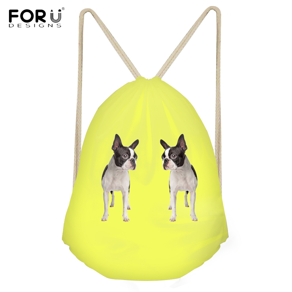 FORUDESIGNS Funny 3D Dog Boston Terrier Print Woman Drawstring Bags Fashion Yellow Backpacks For Teen Girls Students Beach Bags