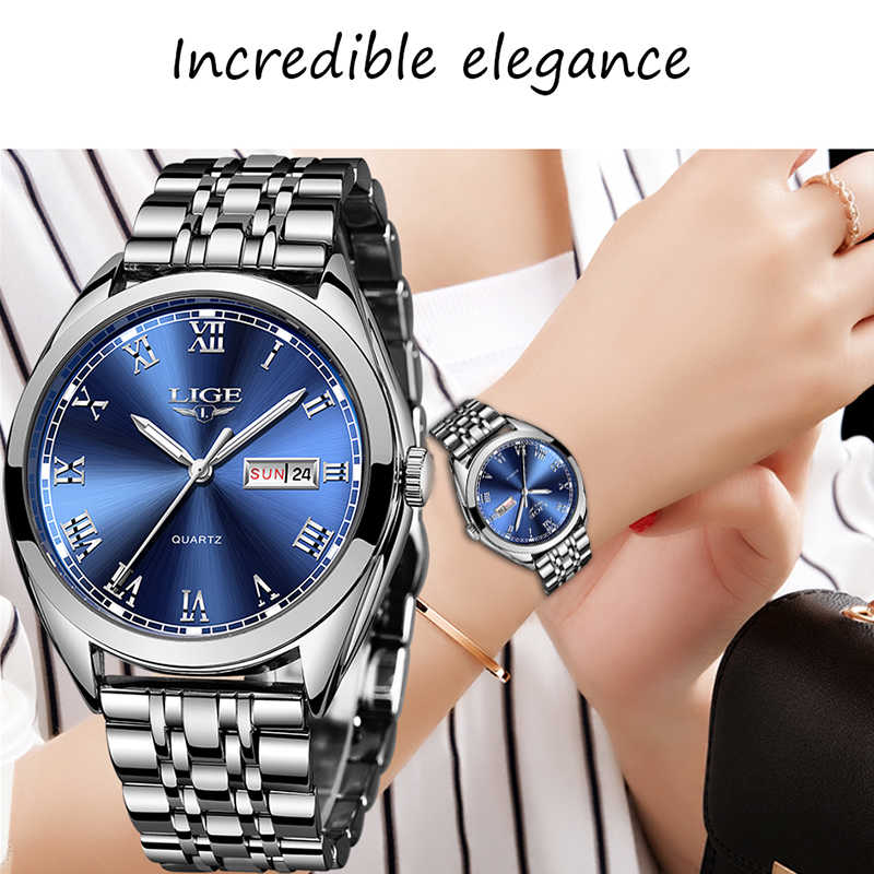2019 LIGE Women New Blue Watch Date Business Quartz Watch Ladies Top Brand Luxury Female Wrist Watch Girl Clock Relogio Feminino