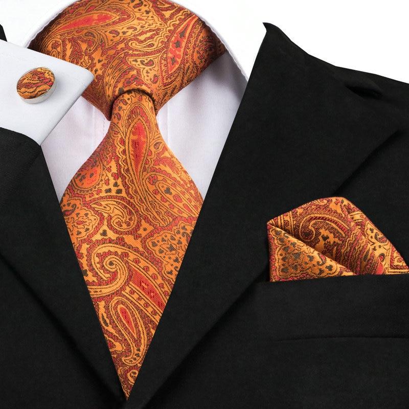 2016 Fashion Silk Jacquard Tie Orange Red Paisley Tie ...