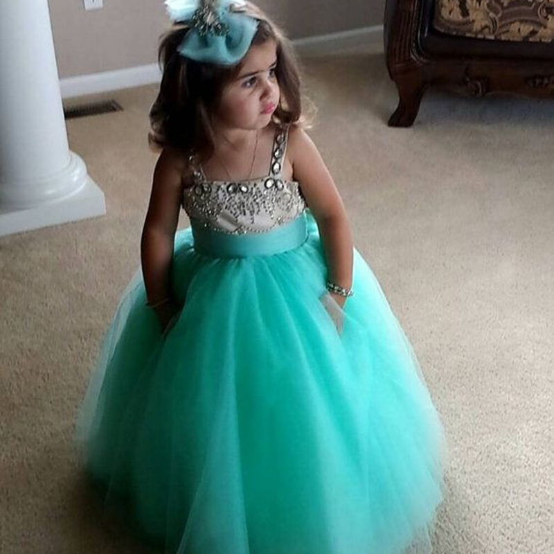 Teal Wedding Gown: Lovely Teal Flower Girl Kids Dresses With Spaghetti Straps