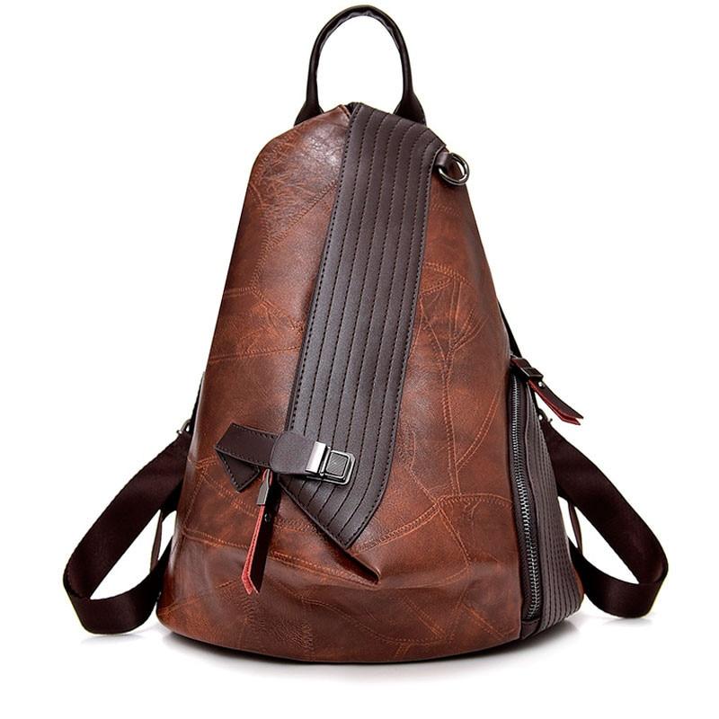 Vintage Antitheft Backpack Women 2018 Fashion New Large Capacity Women Shoulder Bag Leisure Soft Leather School Travel Back Pack