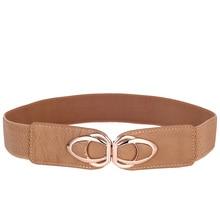 b854afdcedadd PU Leather Elastic Wide Belt for Women Stretch Thick Waist Belt for Dress  Fashion Stretch women