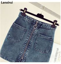 2018 Summer Fashion Women High Waist Front Zip Denim Skirt Casual Zipper A -Line Mini Skirts Pocket Wrapover Jeans Skirt