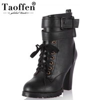 750765f624 Taoffen Size 34 43 Women Winter Fur Warm Ankle Boots Cross Strap Shoes  Women Lace Up. Tamanho 34 43 Taoffen Pele Das Mulheres De Inverno Quente ...
