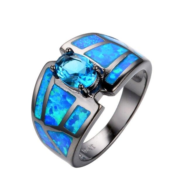 Hot Selling Light Blue Ocean Blue Fire Opal Ring Men Women Fashion