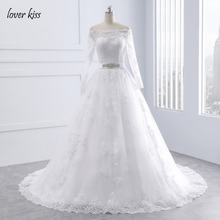 Lover Kiss Wedding Dresses Princess Lace Bridal Bride Gowns with veil robe de mariage Luxury Vintage Long Sleeves off Shoulder