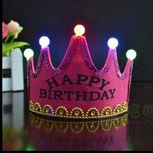 2019 New Happy Birthday Hat Crown Child Adult Universal LED Light Birthday Party Hat