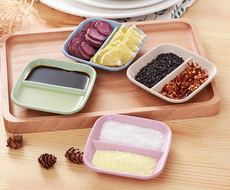 Baby Feeding Plate Wheat Straw Seasoning Dish Sauce Vinegar Small Plate Creative Solid Color Salt Snack Dinner Tableware MBG0356