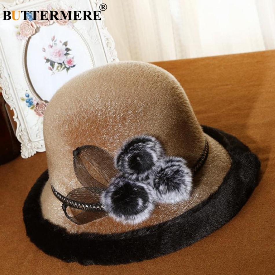 fee46f0e10 BUTTERMERE Fedora Women Hats Winter 2019 Burgundy Fur Bucket Caps Ladies  Flower Elegant Warm Tea Party