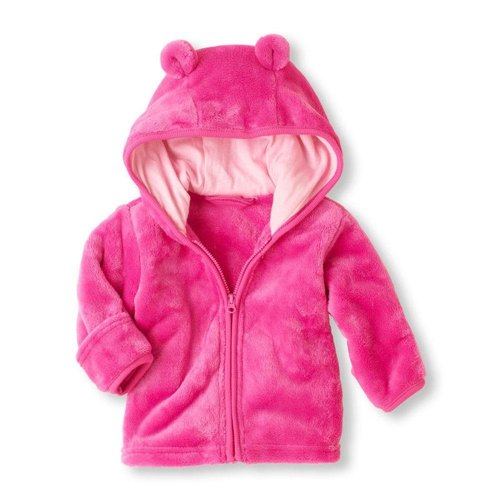 3-12 м зима теплая из плотного флиса кораллового цвета пальто для маленьких мальчиков и девочек с длинным рукавом Симпатичные уха с капюшоном...
