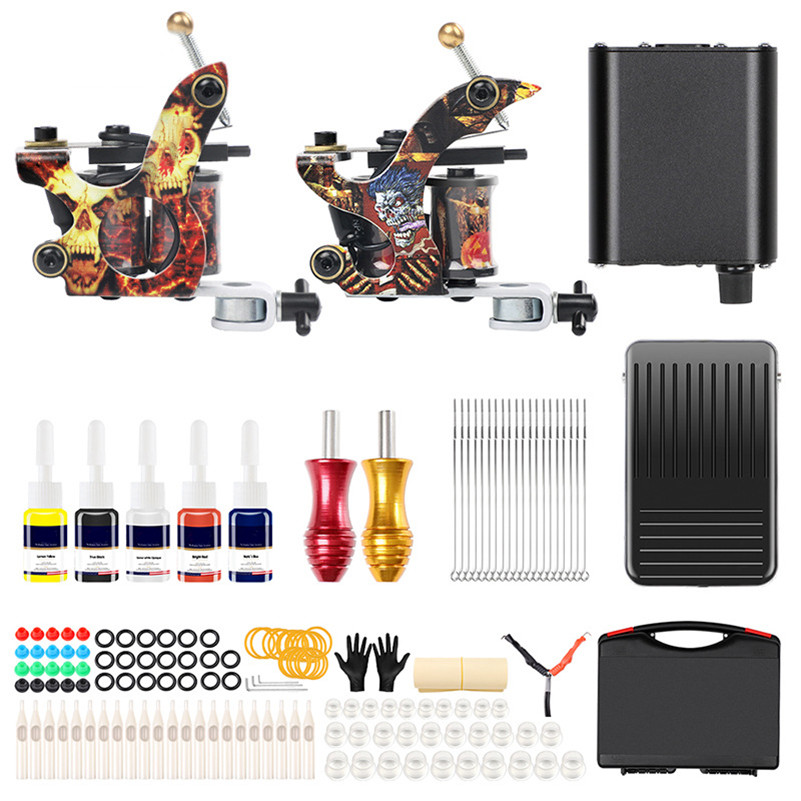Complete Tattoo Kit Pro 2 Pro Coil Tattoo Machine Starter Tattoo Kit 5 Tattoo Inks Power Supply Foot Pedal With Carry Case