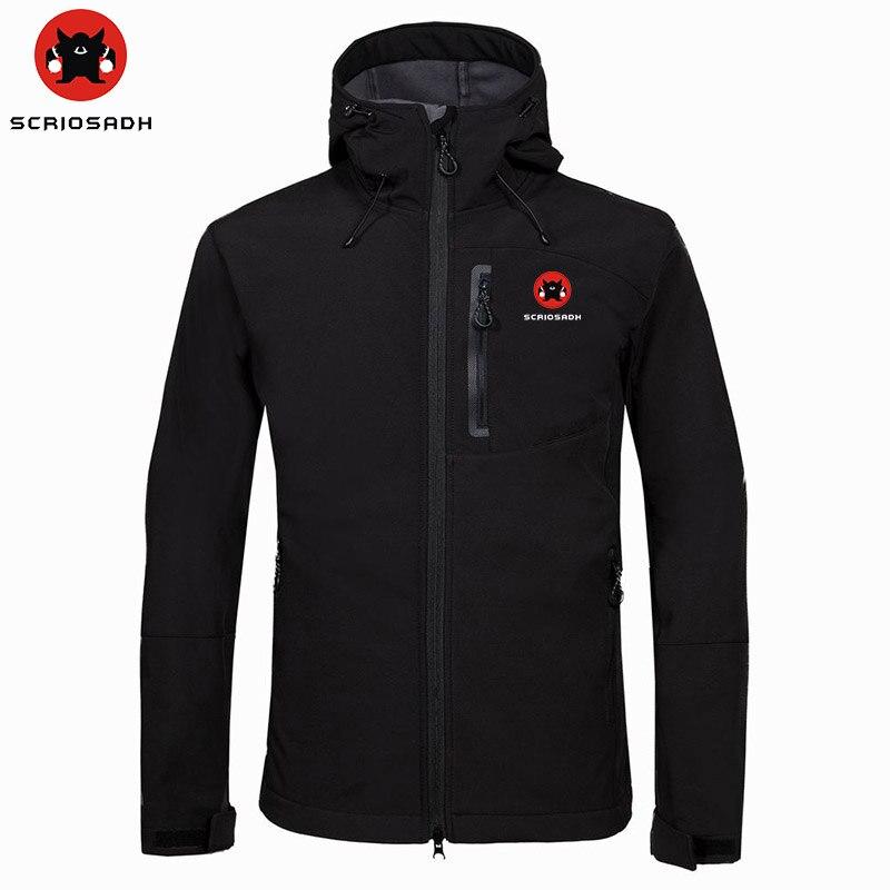 SCRIOSADH Winter Fleece Thermal  Jacket Men Waterproof Outdoor Soft shell Windbreaker Coat Men Cycling Hiking Soft shell Jacket|Hiking Jackets| |  - title=