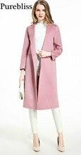 purebliss 100 cashmere winter wool long wool coats women pink red camel 2017 runway elegant jacket female overcoat office casaco