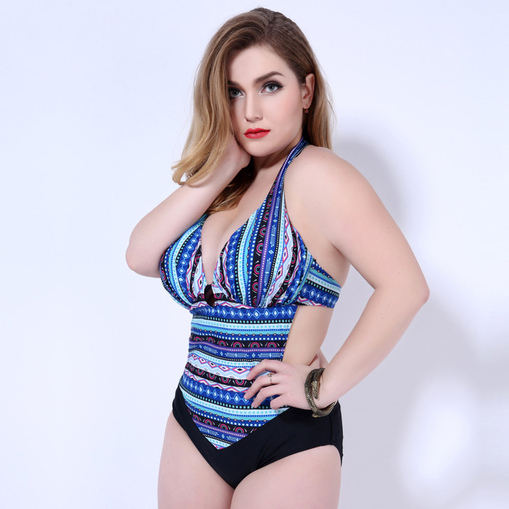 2016 Brand Sexy Bohemia One Piece Swimsuit Swimwear Women Monokinis Plus Size Swimwear Backless Halter Bathing Suit 6805 plus size halter backless one piece swimsuit