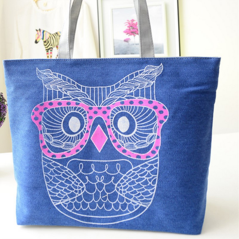 Canvas Shoulder Bag Women 2017 Fashion Casual Owl Printing Lady Cartoon Handbag Large Tote Purse Shopping Bag fast shipping