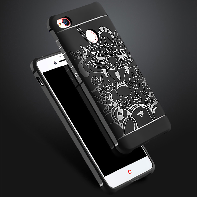 Armor anti hit Shock proof Silicone Cases For ZTE Nubia Z11 /mini S 3D carved Dragon Drop resistance Soft Rubber back Cover case