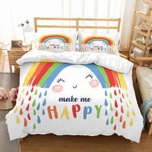 Cartoon Rainbow Kids Microfiber Bedding Set Duvet Cover Animals 3D Print Bed Linen Pillowcase Twin Full Queen Bedclothes