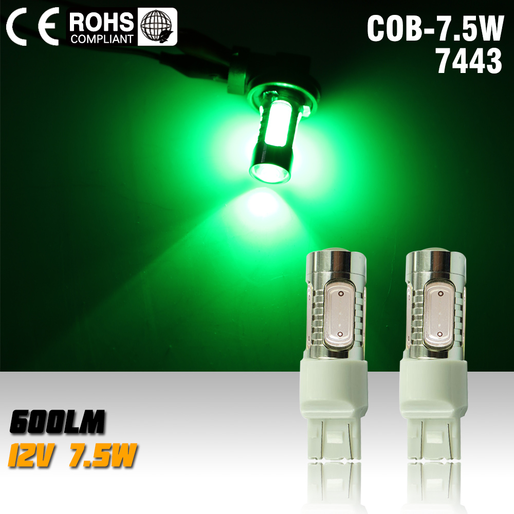 2X T20 7.5w 12v Led Car Light Source 7443 Led Auto Brake Bulbs w21/5w Parking High Power Car Led Lamp green