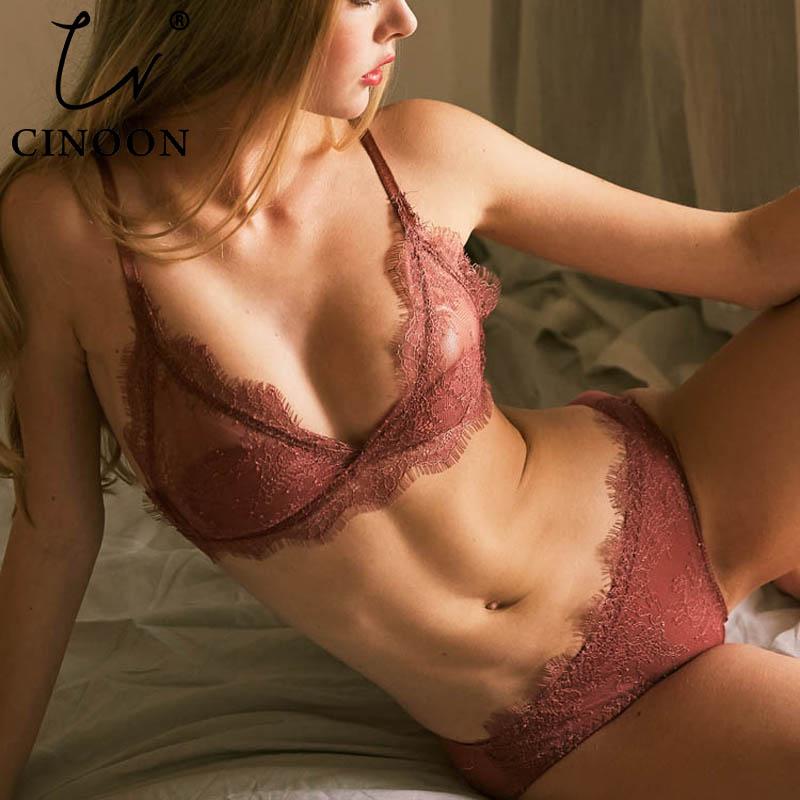 CINOON New Fashion Women Lace Bra Set High Quality Underwear Sexy Woman Lingerie Push Up Bra Sets Unlined Bra & Brief Set
