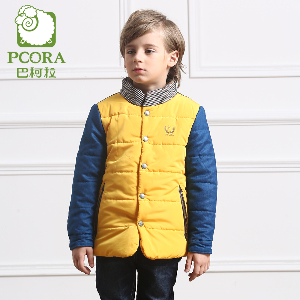 PCORA Boys Winter Jacket Casual Kids Warm Yellow Coat Patchwork Children Clothes Single Breasted Turtleneck Outwear High Quality 2016 fashion boys winter jacket new design thick warm single breasted hooded outwear kids children clothes boys coat for 2 8year