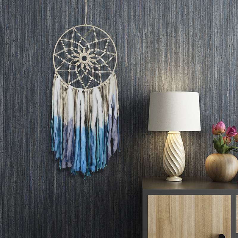 Round Tassel Wall Tapestry Macrame Bohemian Art Handmade Blue Cotton Tapestry Hotel Apartment Home Bedroom Bedroom Wall Decor(China)