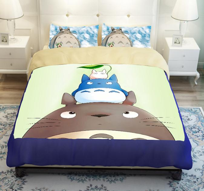 Totoro bedding set cartoon kids boy duvet cover king queen twin size quilt  cover Set fitted sheet set set free shipping 6c443de55