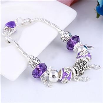 Pink Crystal Charm Silver Bracelets & Bangles for Women  Beads Silver Bracelet Femme Jewelry 27
