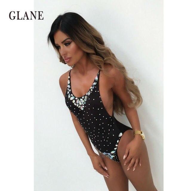 59afbf313e 2018 Women Hot Drilling Bikini Diamond Swimsuit One-Piece Bathing Suit Sexy  Beachwear Hot Sale Thong Lades Swimwear