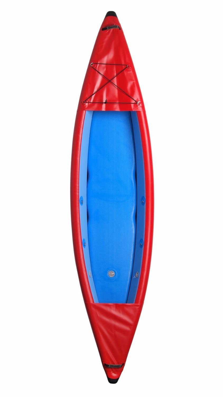 Kayak de pêche gonflable simple en plein air assis sur le dessus avec tous les accessoires gratuits