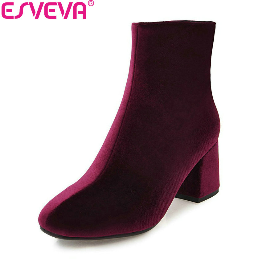 ESVEVA 2018 Gold Velvet Women Boots Western Style Fashion Square High Heel Ankle Boots Chunky Zippers Ladies Boots Size 34-43 esveva 2018 women boots sweet style zippers square high heels pointed toe ankle boots chunky short plush ladies shoes size 34 39