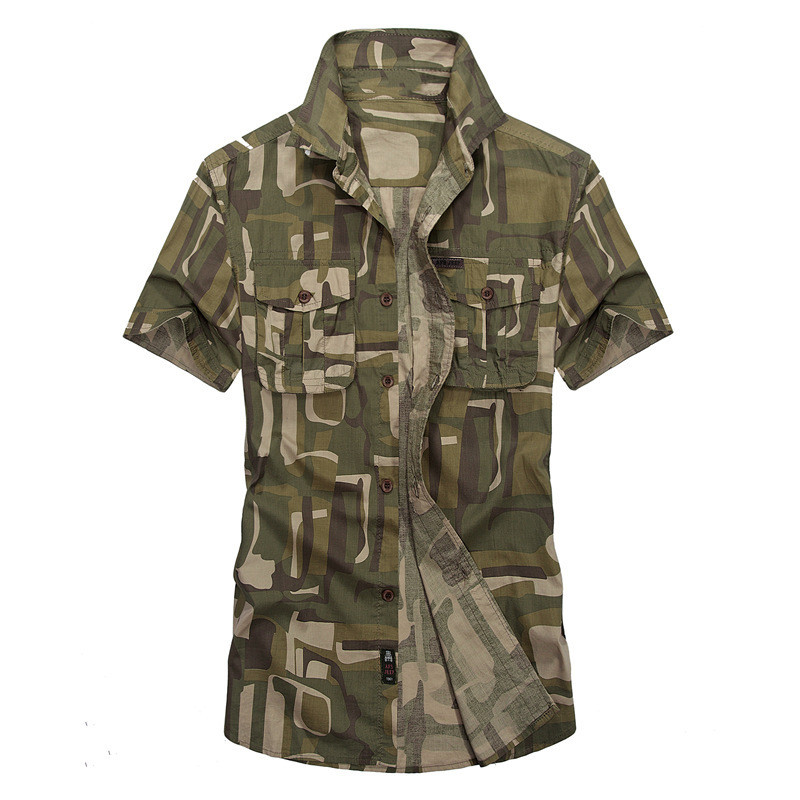 MORUANCLE New Mens Casual Cargo Shirts Military Style Short Sleeve Camouflage Tactical Shirt Tops Turn Down Collar With Pockets