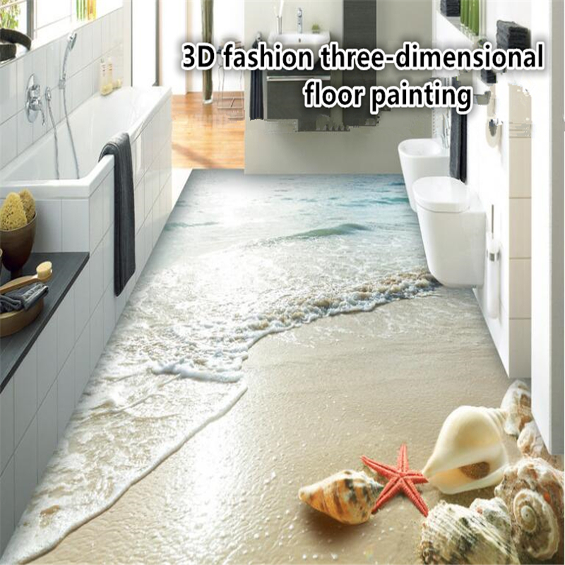 beibehang papel de parede Fantastic fashion personality aesthetic 3d wallpaper summer beach shell stereo creative 3d flooring