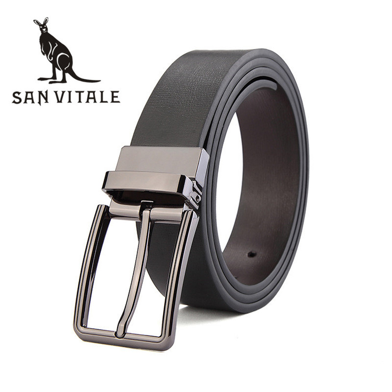 <font><b>Belts</b></font> Mens <font><b>Belt</b></font> Genuine Leather For Jeans Strap Slim Man Cowskin Black Stretch Buckles For Suit Luxury Brand Ratchet Reversible image