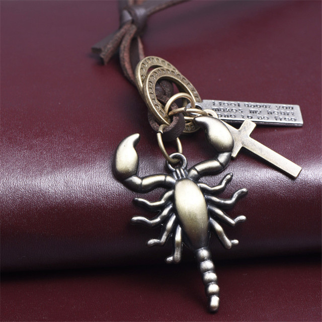 Hot fashion men jewelry leather necklace cross punk male scorpion hot fashion men jewelry leather necklace cross punk male scorpion pendants necklace bronze animals for women mozeypictures Images