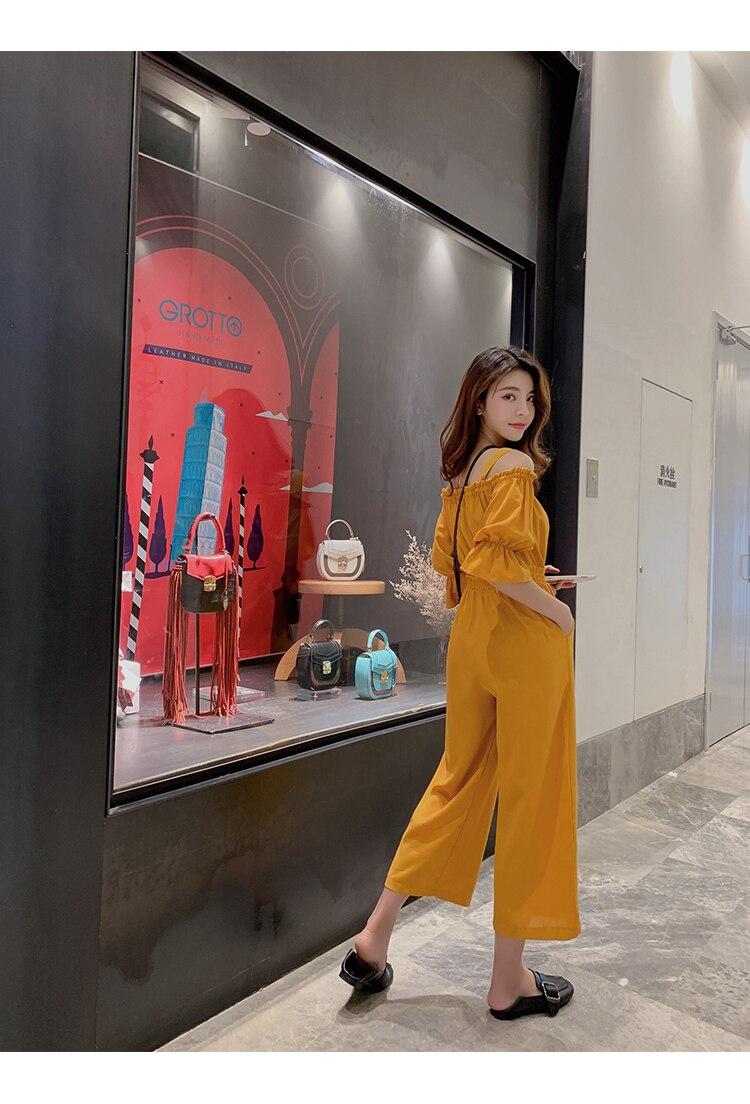 Women's Clothing 2019 Summer New Sexy Bohemian Style Spaghetti Strap Helf Sleeve High Waist Sling Long Beach Wide Leg Jumpsuit 20