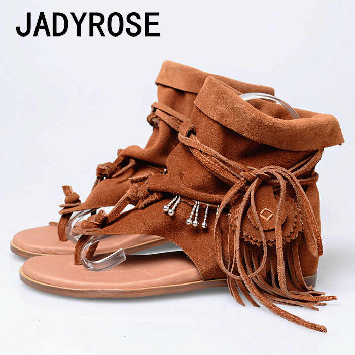 b7c26467d04 Women Gladiator Flats Sandals Top Suede Fringe Flip Flops Shoes Woman Ankle  Strap Tassel Summer Bohemian