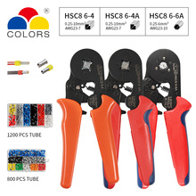 HSC8 6-4 0.25-10mm2 23-7AWG crimping pliers HSC8 6-4A HSC8 6-6A 0.25-6mm2 mini round nose plier tube needle terminals box tools hsc8 6 6 mini type self adjustable crimping plier 0 25 6mm terminals crimping tools multi tool tools hsc8 6 6a